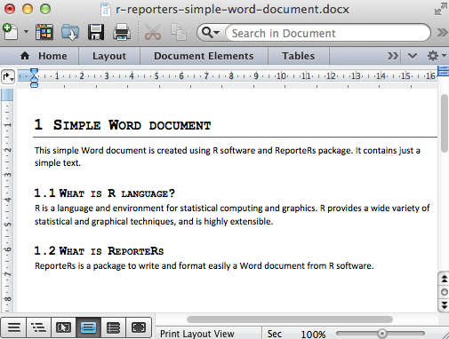 Create and format Word documents using R software and