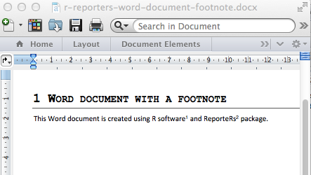 R software and Reporters package, add foot note to a Word document